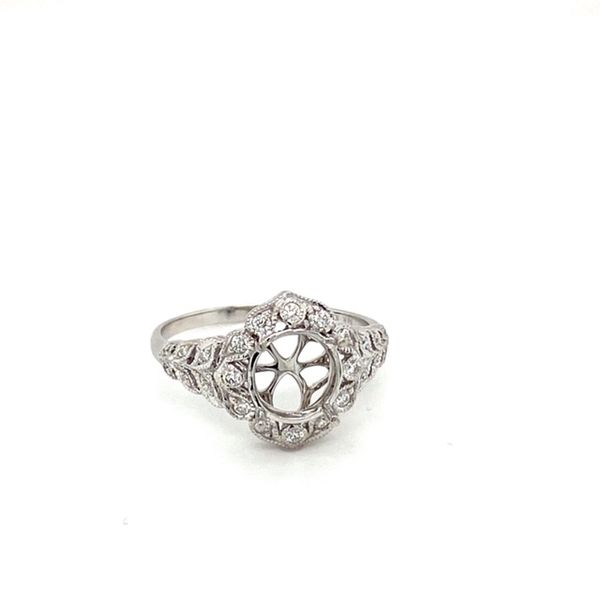 Floral Halo Diamond Engagement Ring Setting Image 2 Toner Jewelers Overland Park, KS