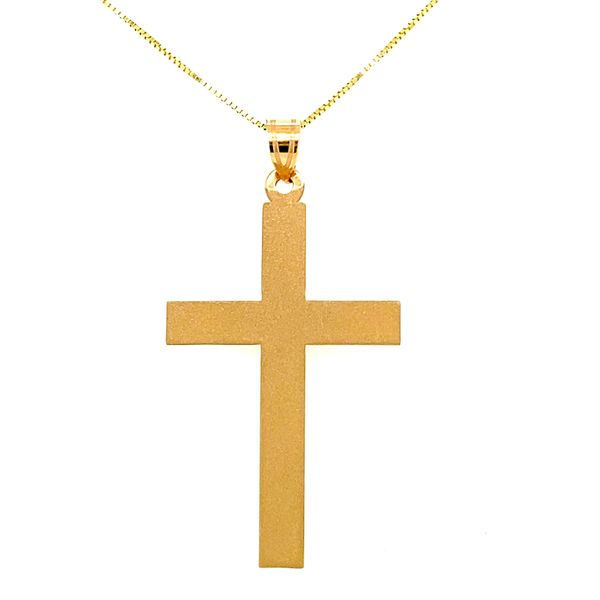 Yellow Gold Satin Cross Necklace