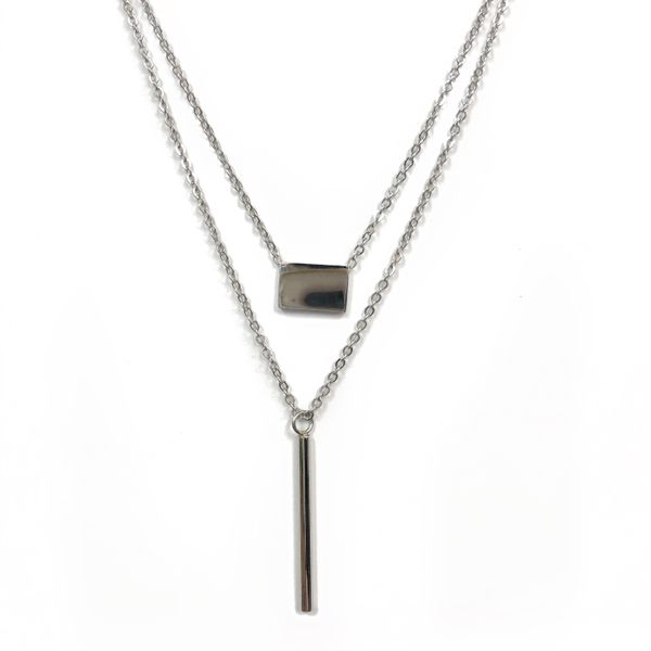 Stainless Steel Layered Bar Necklace Vandenbergs Fine Jewellery Winnipeg, MB