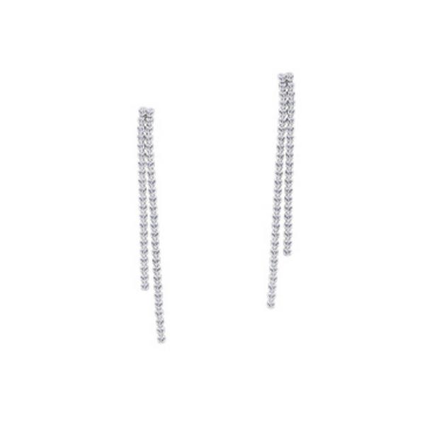 14K White Gold Diamond Dangle Earrings Vandenbergs Fine Jewellery Winnipeg, MB