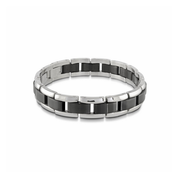 Stainless Steel Black Link Bracelet Vandenbergs Fine Jewellery Winnipeg, MB