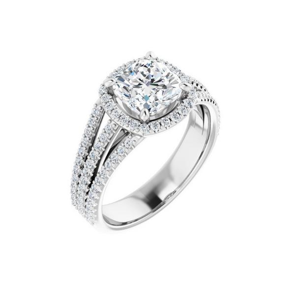 14K White 7 mm Cushion Engagement Ring Mounting Vandenbergs Fine Jewellery Winnipeg, MB
