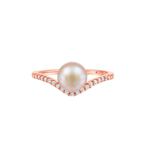 10K Rose Gold Pink Pearl & Diamond Ring Vandenbergs Fine Jewellery Winnipeg, MB
