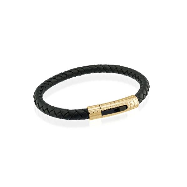 Yellow Stainless Steel Black Leather Bracelet Vandenbergs Fine Jewellery Winnipeg, MB