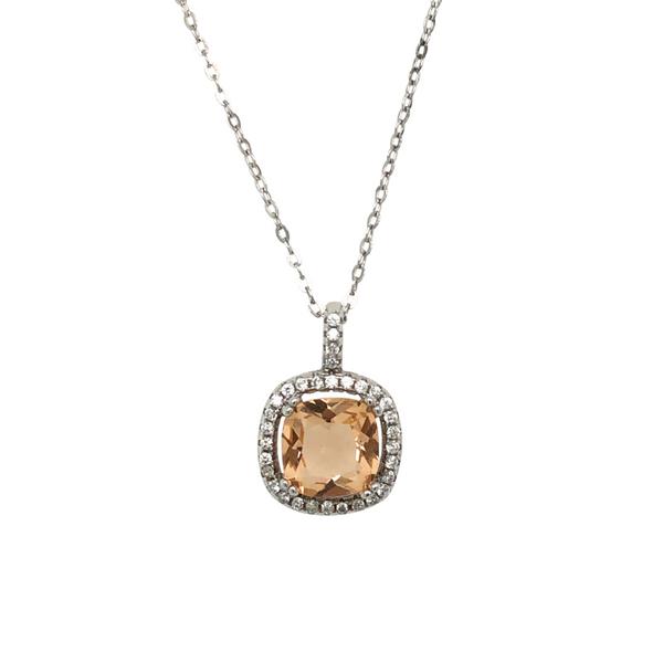 Caramel & White Cubic Zirconia Silver Necklace Vandenbergs Fine Jewellery Winnipeg, MB