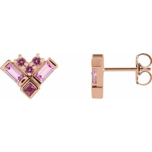 pink gemstone studs