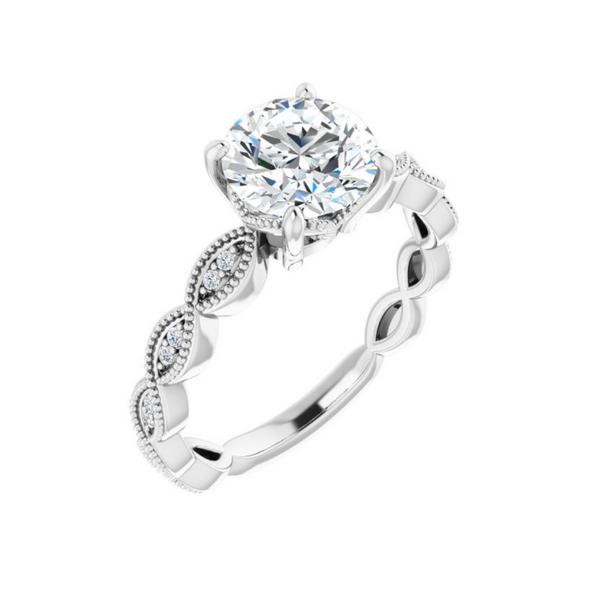 10K White 7.4 mm Round Engagement Ring Mounting Vandenbergs Fine Jewellery Winnipeg, MB