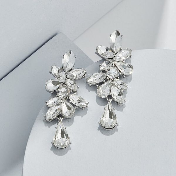 Olive and Piper Crystal Floret Studs White