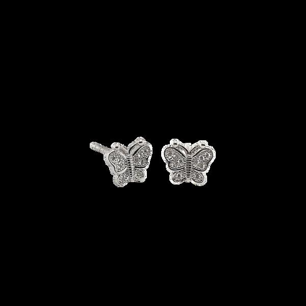 Silver Cubic Zirconia Butterfly Studs Vandenbergs Fine Jewellery Winnipeg, MB