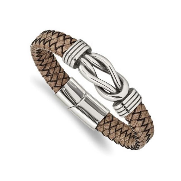 Stainless Steel Leather Bracelet Vandenbergs Fine Jewellery Winnipeg, MB