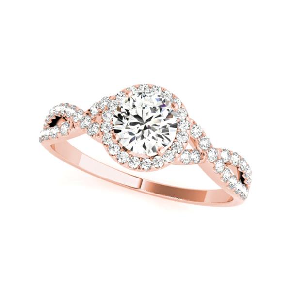 14K Rose Halo Twist Lab Grown Diamond Engagement Ring Vandenbergs Fine Jewellery Winnipeg, MB