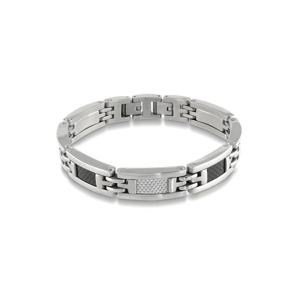 Stainless Steel Black & White Carbon Fibre Bracelet Vandenbergs Fine Jewellery Winnipeg, MB