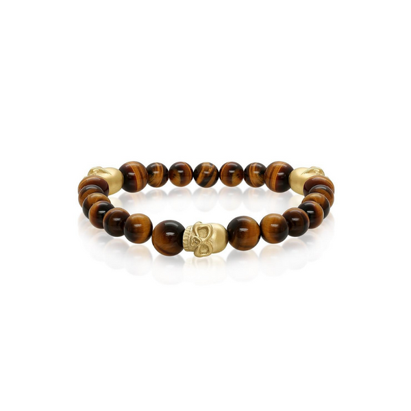Gold Plated Skull Tiger's Eye Bead Bracelet Vandenbergs Fine Jewellery Winnipeg, MB