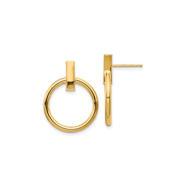 14K Polished Circle Post Earrings Vandenbergs Fine Jewellery Winnipeg, MB