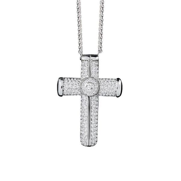 Petra Azar Sterling Silver Paved Cross Pendant