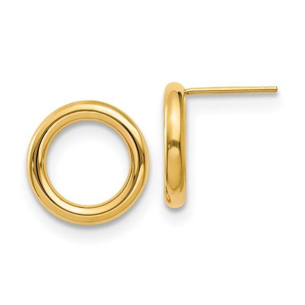 14K Polished Circle Post Earrings Image 2 Vandenbergs Fine Jewellery Winnipeg, MB