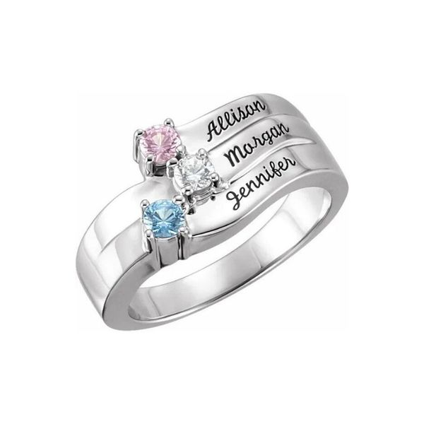 family birthstone ring engraved