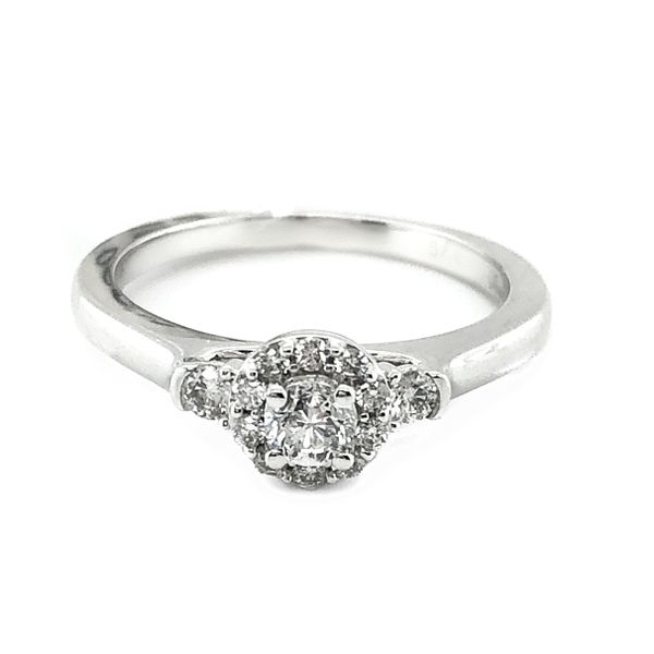 14K White Gold Diamond Halo Ring Vandenbergs Fine Jewellery Winnipeg, MB