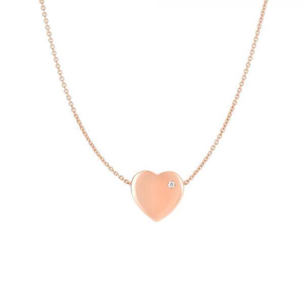 14K Rose Gold .01ct Diamond Heart Necklace Vandenbergs Fine Jewellery Winnipeg, MB