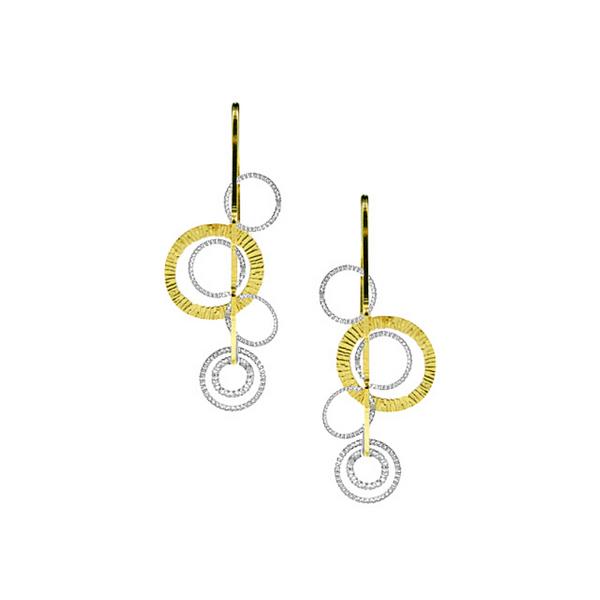 Frederic Duclos Two Tone Circle Drop Earrings Vandenbergs Fine Jewellery Winnipeg, MB
