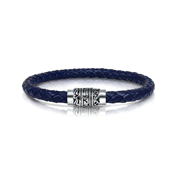 Mens Navy Italian Leather Bracelet Vandenbergs Fine Jewellery Winnipeg, MB