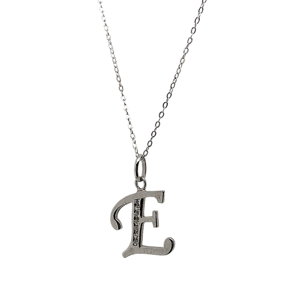 Sterling Silver CZ Letter E Necklace Vandenbergs Fine Jewellery Winnipeg, MB