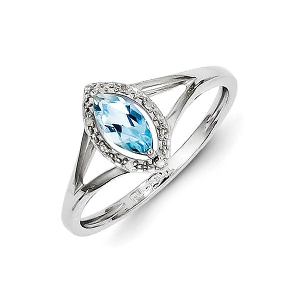 Diamond & Sky Blue Topaz Marquise Ring Image 2 Vandenbergs Fine Jewellery Winnipeg, MB