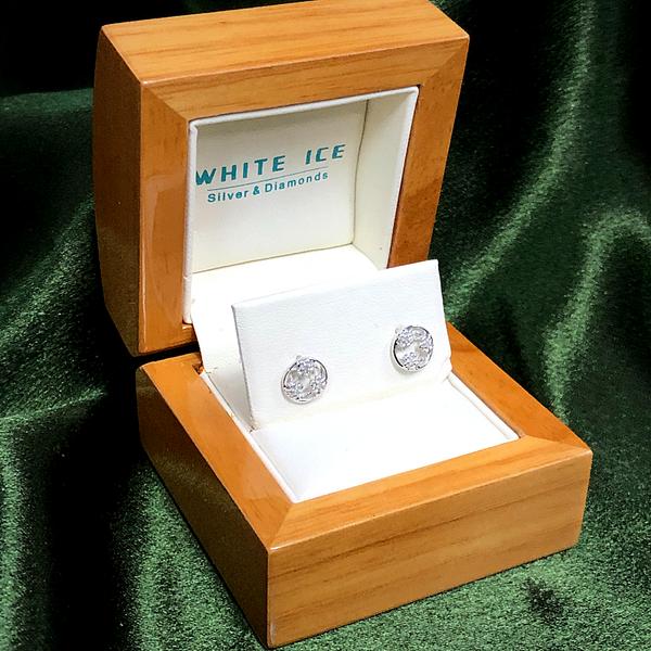 White Ice Diamond Flower Stud Earrings Image 2 Vandenbergs Fine Jewellery Winnipeg, MB