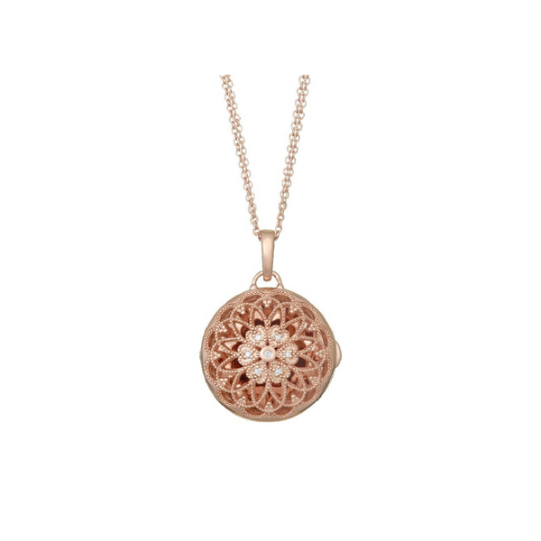 "Rose Tone White Topaz ""Elaine"" Locket  Vandenbergs Fine Jewellery Winnipeg, MB"