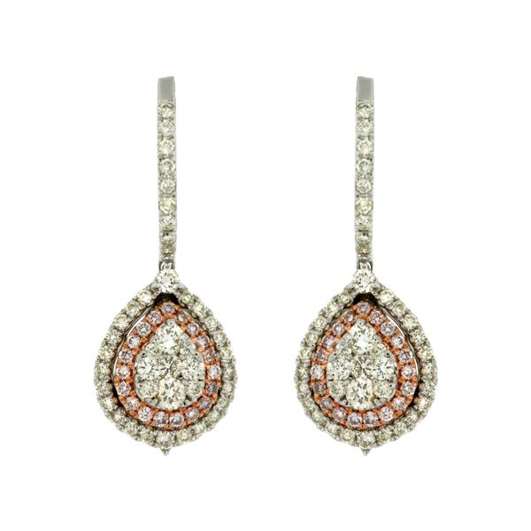 white and pink diamond earrings