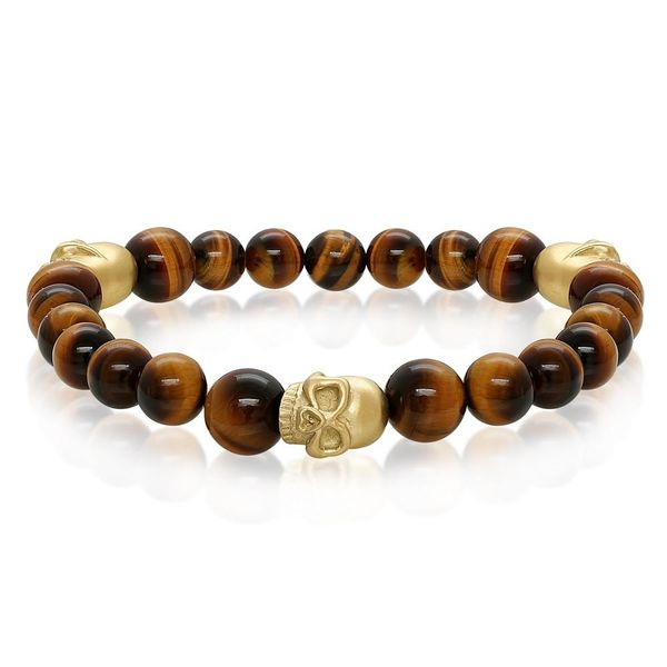 Gold Plated Skull Tiger's Eye Bead Bracelet Image 2 Vandenbergs Fine Jewellery Winnipeg, MB