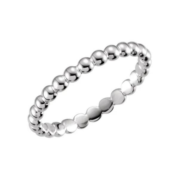 14K White Gold Beaded Stackable Ring Image 2 Vandenbergs Fine Jewellery Winnipeg, MB
