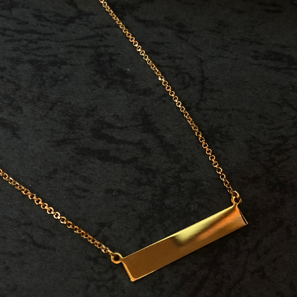 Yellow Gold Plated Sterling Silver Bar Necklace Image 2 Vandenbergs Fine Jewellery Winnipeg, MB