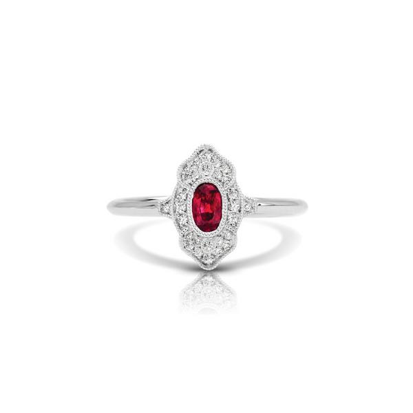 14K White Gold Diamond Ruby Ring Vandenbergs Fine Jewellery Winnipeg, MB