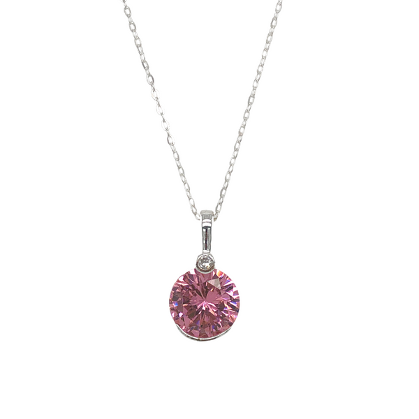 Pink Round Cubic Zirconia Necklace Vandenbergs Fine Jewellery Winnipeg, MB
