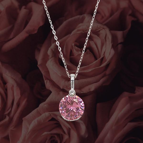 Pink Round Cubic Zirconia Necklace Image 2 Vandenbergs Fine Jewellery Winnipeg, MB