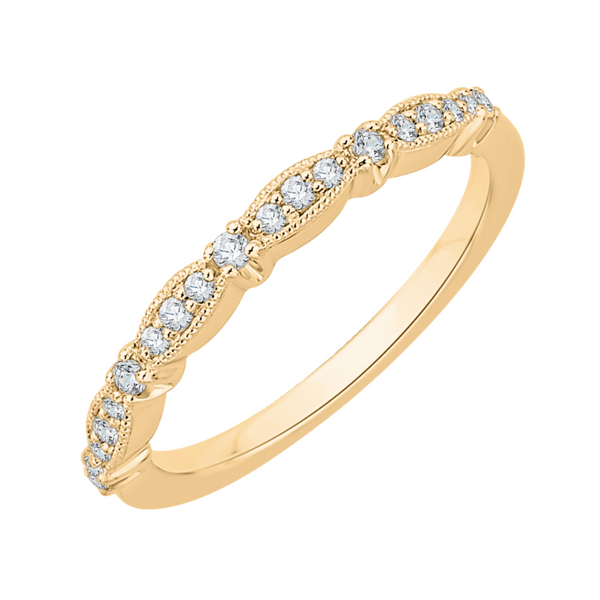 14K Yellow Gold Round Diamond Vintage Wedding Band Vandenbergs Fine Jewellery Winnipeg, MB