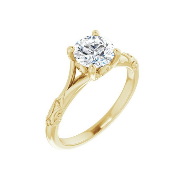 Yellow Gold Solitaire Engagement Ring Mounting Vandenbergs Fine Jewellery Winnipeg, MB