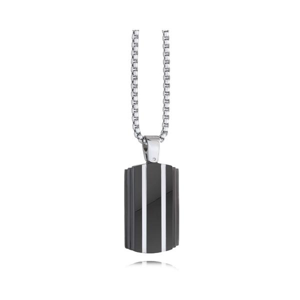 Stainless Steel Black Stripe Tag Necklace Vandenbergs Fine Jewellery Winnipeg, MB
