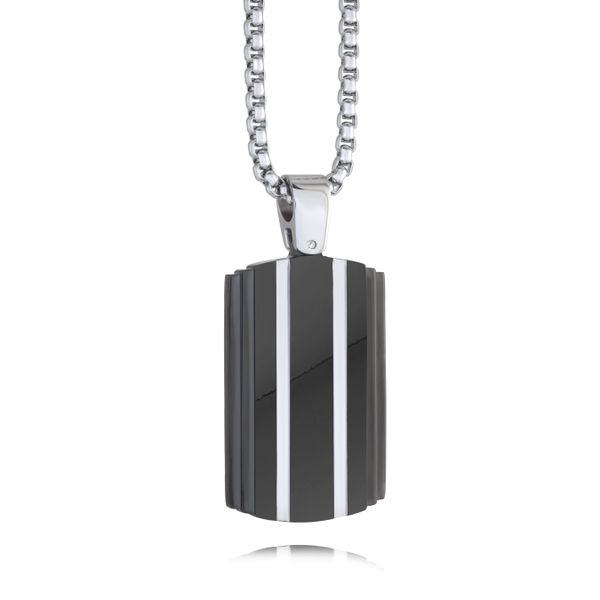 Stainless Steel Black Stripe Tag Necklace Image 2 Vandenbergs Fine Jewellery Winnipeg, MB