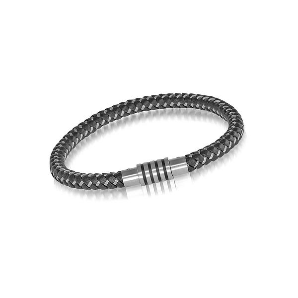Stainless Steel Black Leather Bracelet Vandenbergs Fine Jewellery Winnipeg, MB