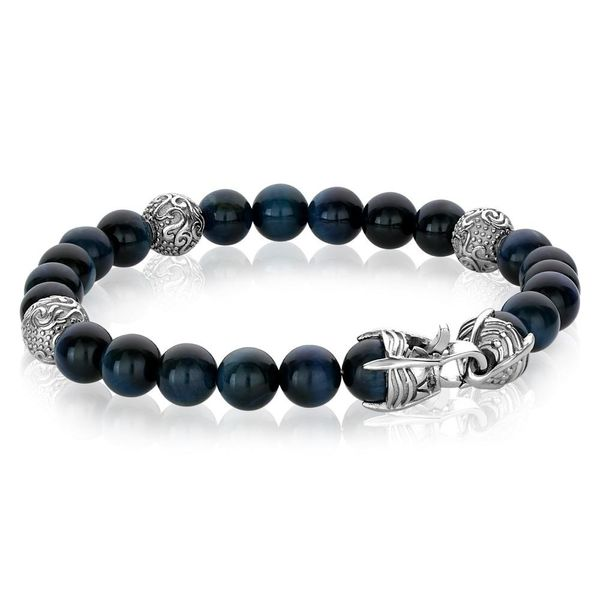 Stainless Steel Blue Bead Bracelet Image 2 Vandenbergs Fine Jewellery Winnipeg, MB