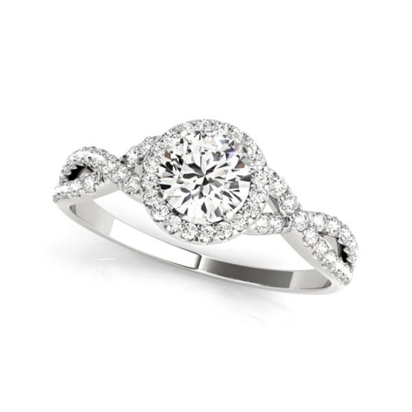 14K White Halo Twist Lab Grown Diamond Engagement Ring Vandenbergs Fine Jewellery Winnipeg, MB
