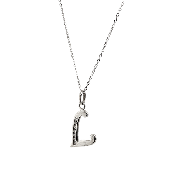Sterling Silver CZ Letter L Necklace Vandenbergs Fine Jewellery Winnipeg, MB