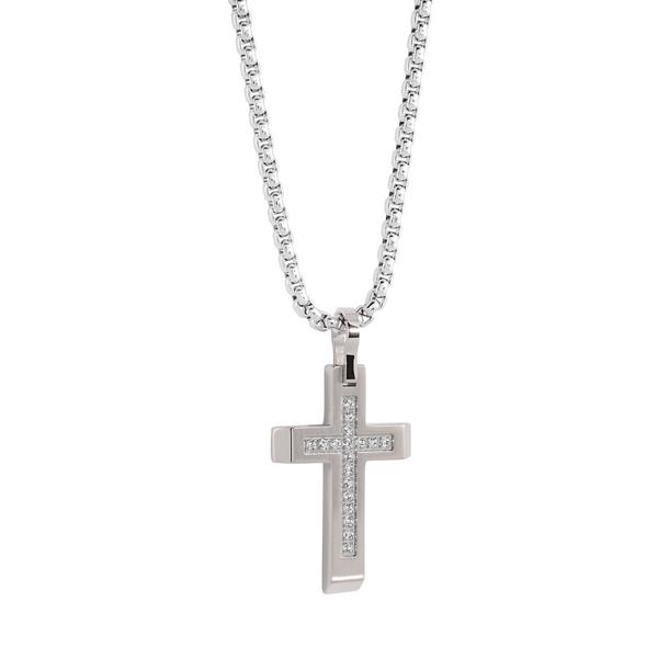 Steel CZ Cross Necklace Vandenbergs Fine Jewellery Winnipeg, MB