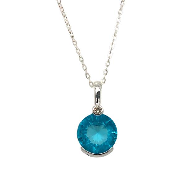 Turquoise Cubic Zirconia Silver Necklace Vandenbergs Fine Jewellery Winnipeg, MB