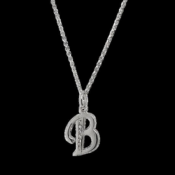 Sterling Silver CZ Letter B Necklace Vandenbergs Fine Jewellery Winnipeg, MB