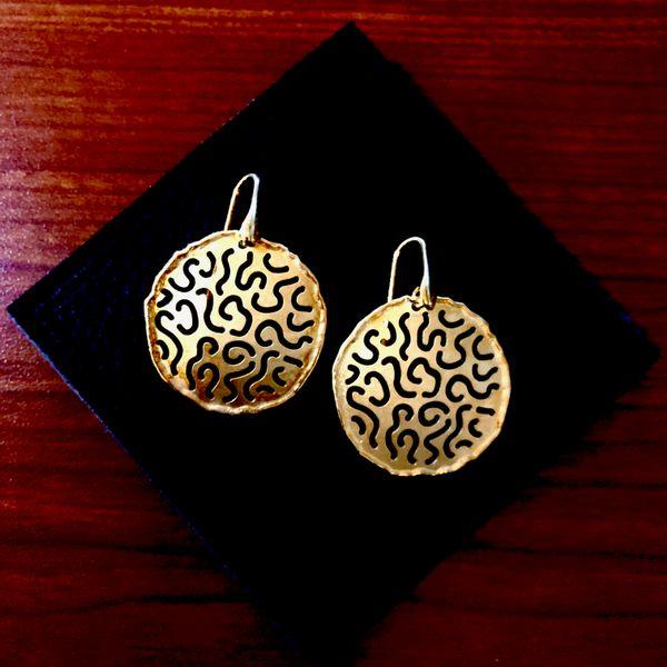 Sterling Silver Gold Plated Disc Earrings Image 2 Vandenbergs Fine Jewellery Winnipeg, MB