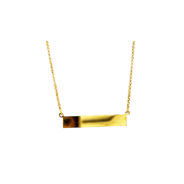 Yellow Gold Plated Sterling Silver Bar Necklace Vandenbergs Fine Jewellery Winnipeg, MB