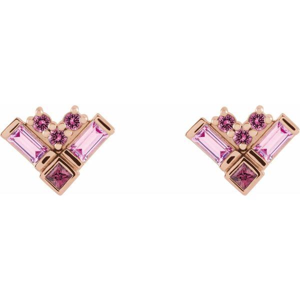 pink gemstone stud earrings